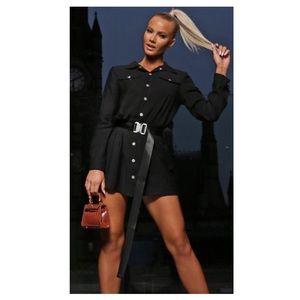 Black utility mini shirt dress with belt